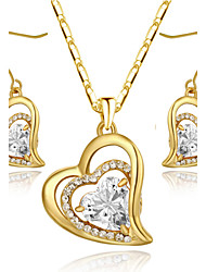 HKTC Classic 18k Yellow Gold Plated Clear Cubic Zirconia Simulated Diamond Heart Earrings and Necklace Set