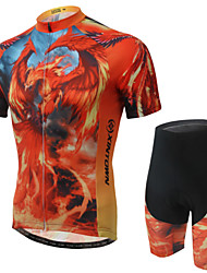 WEST BIKING® Men's Mountain Bike Clothing Suit Breathable Fire Phoenix Pattern Wicking Cycling Clothing Short Suit