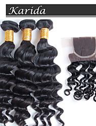 новое прибытие бразильские выдвижения волос Remy волос ткать, топ продаже 12-26inch бразильский естественный волну с закрытием