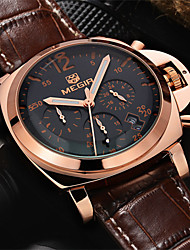 MEGIR®Men Casual Watch Genuine Leather Luxury Watches Quartz Wristwatch CHRONOGRAPH Sport Watch (Assorted Colors) Cool Watch Unique Watch