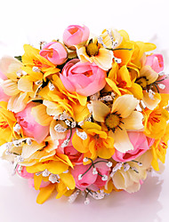 Romantic Round Artificial Silk Bridal Bouquets