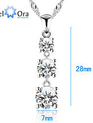 White Cubic Zirconia Pendants & Necklaces Women JewelOra  Classic 925 Sterling Silver .75 CT Lady Pendant