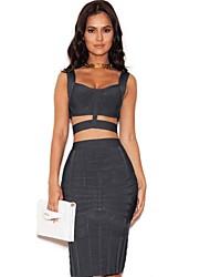 Homecoming Cocktail Party Dress Sheath/Column Spaghetti Straps Short/Mini Spandex/Nylon/Rayon Lady Evening Celebrity Bandage Dress