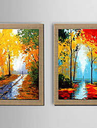 Oil Painting Decoration Abstract Scenery Hand Painted Canvas with Stretched Framed - Set of 2