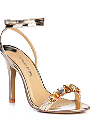 Women's Sandals Summer Ankle Strap PU Outdoor Party & Evening Dress Stiletto Heel Rhinestone Gold Sliver
