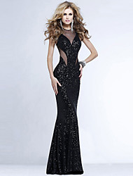 RICHCOCO®  Women's Sexy Sequined Mesh Patch Work Chest Wrapped Package Hip Fishtail Hem Floor-length Dress
