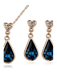 T&C Women's 18K Rose Gold Plated Blue Sapphire Austria Crystal Waterdrop Pendant Necklace Earrings Jewelry Sets