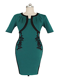 Women's Party/Cocktail Vintage Bodycon Dress,Color Block Round Neck Knee-length Green Summer