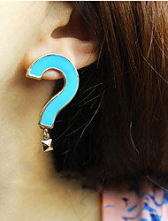 Asymmetry Question Mark Exclamation Mark Multicolor Stud Earrings