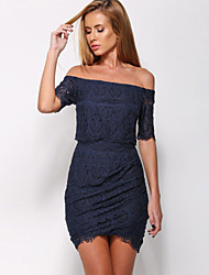 Women's Lace Tunic Off-shoulder Mini Dress