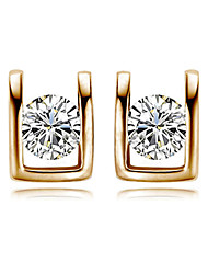 HKTC Elegant U Style Simulated Diamond Stud Earrings 18k Rose Gold Plated Crystal Bridal Jewelry