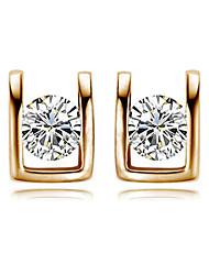 Brincos Curtos Cristal Estilo simples Zircônia Cubica imitação de diamante Liga Em forma de U Prata Ouro Rose Jóias Para 2pçs