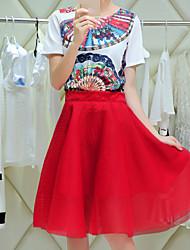 Women's Red Blouse Short Sleeve