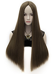 New Women's Long Straight Synthetic Costume Party Full Cosplay Hair Wig Coffee