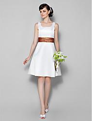 Knee-length Satin Bridesmaid Dress A-line Scoop Plus Size / Petite with
