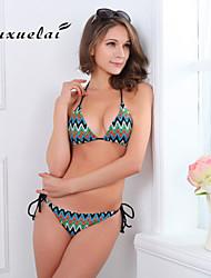 OUXL®Women's Wireless/Padded Bras Color Block/Floral/Dot/Bandage/Geometric Bandeau Bikinis (Nylon/Polyester)