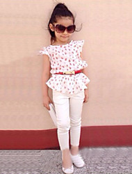 Girl's Cotton/Polyester Fashion Sweet Floral Sleeveless Clothing Set