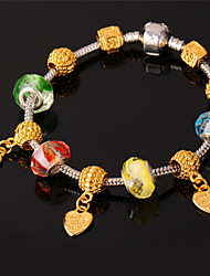 TopGold New European Beads Charm Bracelet 18K Gold Plated Bangle SWA Rhinestone for Women High Quality