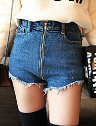 Women's Bodycon Zipper Demin Short Jeans (Cotton)