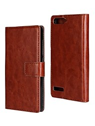 For Huawei Case Card Holder / Wallet / with Stand / Flip Case Full Body Case Solid Color Hard PU Leather Huawei G6