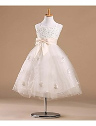 Цветочница платье - Принцесса Длина до колен Без рукавов Атлас/Тюль