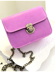 Women's Chain PU Leather Candy Color Crossbody Messenger Mini Bag