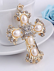 Crystal Rhinestone Pearl Cross Key Chain Ring Keyring