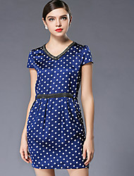 Heavy summer code couture fashion new draw string v-neck long wave point beach dress
