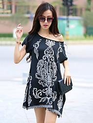 Women's Boho Blue/White/Black T-shirt , Casual/Print/Plus Sizes Round Neck Short Sleeve