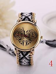 New Fashion Quartz Love Watch Woven Fabric Gold Chain Bracelet Watch Women Nation Style Women Watches Ladies Wristwatch