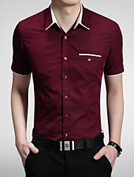 2015 Casual Quality Cotton Fashion Men's Short Sleeve Shirt 5 Color M-5XL