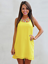 Women's Solid Orange/Yellow Dress, Beach/Casual Halter Bow Back Sleeveless Mini