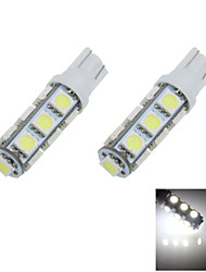 2X White T10 W5W 13SMD 5050 LED Car Clearance Lamp Side Light Bulb DC12V A012