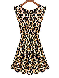 Women's Casual/Daily A Line Dress,Animal Print Round Neck Above Knee Sleeveless Black Polyester Summer