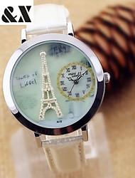 lazer moda relógio cinto torre de quartzo das mulheres