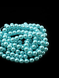 Beadia 3 Str(approx 430pcs) Glass Beads 6mm Round Imitation Pearl Beads Turquoise Color DIY Spacer Loose Beads