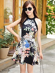 Women's Vintage/Sexy/Beach/Casual/Cute/Party Micro-elastic Sleeveless Mini Dress (Chiffon)