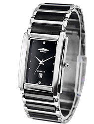 Easman Brand Design Men Ceramic Watch Rectangle Black  Dail Wristwatch For Men