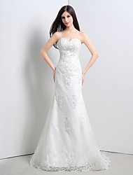Trumpet/Mermaid Strapless Sweep/Brush Train Wedding Dress