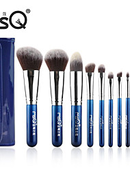 msq® 10pcs fibra carimbar logotipo azul maquiagem conjuntos de escovas