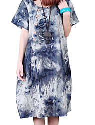 Lady Summer Women Cusual Loose Chinese Ink Printing Dress Clothes