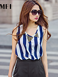 Women's Striped Blue Blouse , Round Neck Sleeveless Beaded