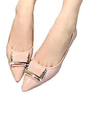 Women's Shoes Patent Leather Flat Heel Comfort/Pointed Toe/Closed Toe Flats Outdoor/Office Black/Pink/Gray