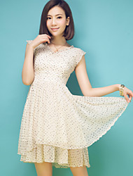 2015 summer new Korean wave point quality ladies Chiffon Dress collar V floral skirt