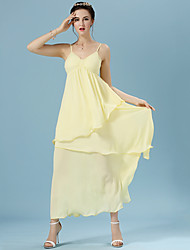 Women's Solid Yellow Dress , Casual V Neck Sleeveless Layered