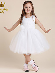 Girl White Tulle Soutache With Flower Party Dress