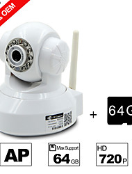 Besteye® 64GB TF Card and H.264 WIFI Camera IP HD 720P 1.0M Pixels PTZ IR Night Vision Wired or Wireless Camera WIFI