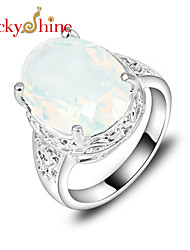 Lucky Shine Women's Men's Unisex 925 Silver Hot Sale Fire Oval Colored Moonstone Crystal Gemstone Wedding Rings