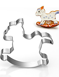 Baby's Toy Rocking Horse Shape Cookie Cutters Fruit Cut Molds Stainless Steel