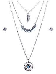 Romantic Jewelry Austrian Diamond Stud Earrings Resin Fine Silver Plated Pendant Necklace Set